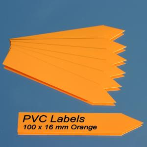 Labels (ORANGE pointed Pvc labels 100 x 16 mm)