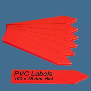 Labels (RED pointed Pvc labels 100 x 16 mm)