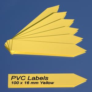 Labels (YELLOW) pointed Pvc labels 100 x 16 mm)